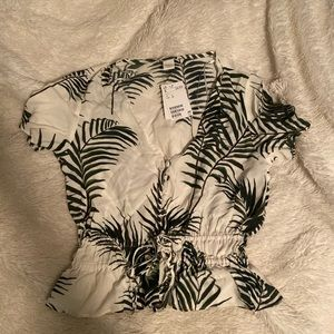 H&M palm leaves tee shirt